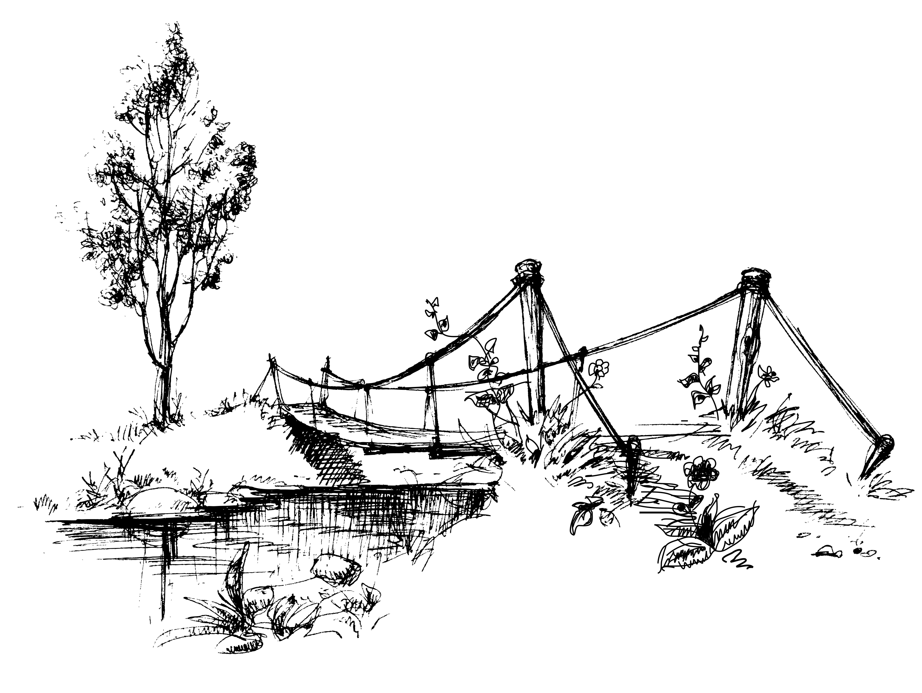 Sketch of an old footbridge over a stream
